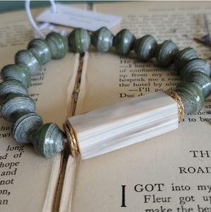Green Beaded Boho Bracelet NWT Handmade in Uganda